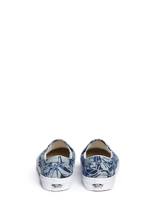 Back View - Click To Enlarge - Vans - 'Indigo Tropical Classic' denim skate slip-ons