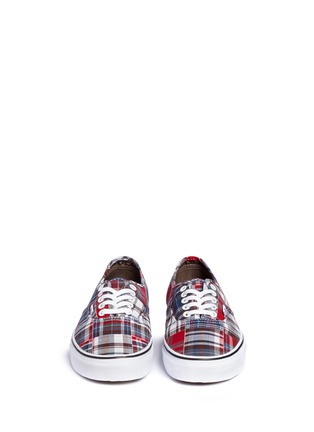 Front View - Click To Enlarge - Vans - 'Authentic' plaid patchwork sneakers