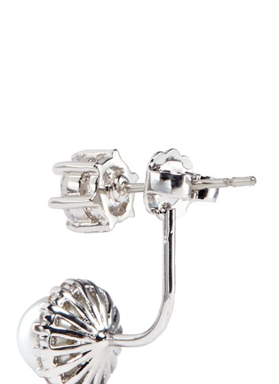 Detail View - Click To Enlarge - CZ by Kenneth Jay Lane - Cubic zirconia glass pearl drop earrings