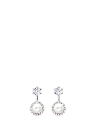Main View - Click To Enlarge - CZ by Kenneth Jay Lane - Cubic zirconia glass pearl drop earrings