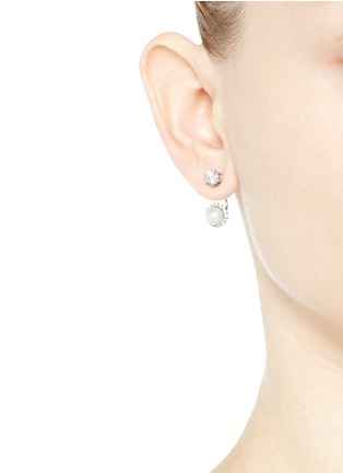 Figure View - Click To Enlarge - CZ by Kenneth Jay Lane - Cubic zirconia glass pearl drop earrings