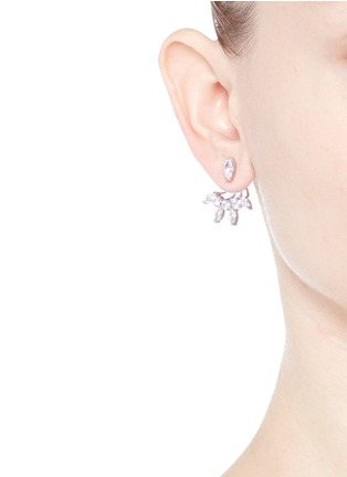 CZ by Kenneth Jay Lane - Mixed cubic zirconia fan jacket earrings