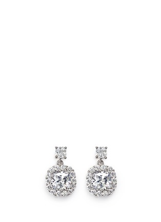 CZ by Kenneth Jay Lane - Halo cushion cut cubic zirconia drop earrings