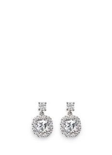 CZ by Kenneth Jay LaneHalo cushion cut cubic zirconia drop earrings