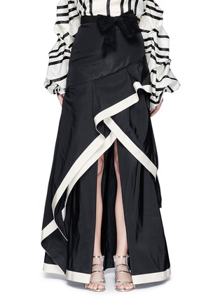Main View - Click To Enlarge - Johanna Ortiz - 'Julio Verne' suede bow belt silk taffeta skirt