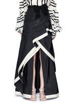 'Julio Verne' suede bow belt silk taffeta skirt