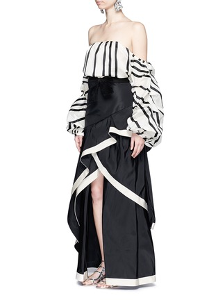 Figure View - Click To Enlarge - Johanna Ortiz - 'Julio Verne' suede bow belt silk taffeta skirt