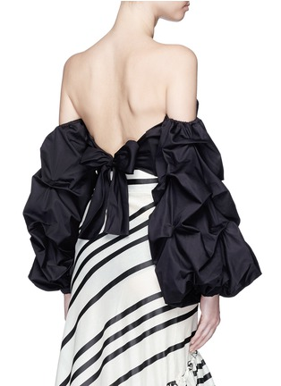 Back View - Click To Enlarge - Johanna Ortiz - 'Merlin' off-shoulder sash tie cropped bustier