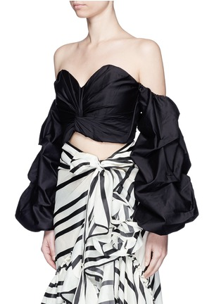 Front View - Click To Enlarge - Johanna Ortiz - 'Merlin' off-shoulder sash tie cropped bustier