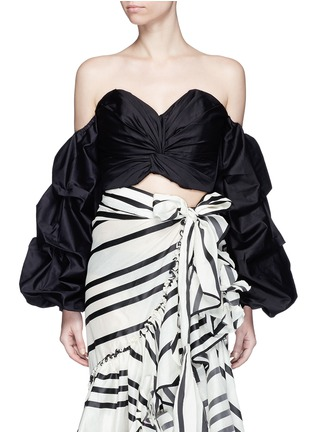 Main View - Click To Enlarge - Johanna Ortiz - 'Merlin' off-shoulder sash tie cropped bustier