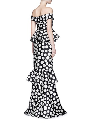 Back View - Click To Enlarge - Johanna Ortiz - 'Miss Golightly' polka dot ruffle gown