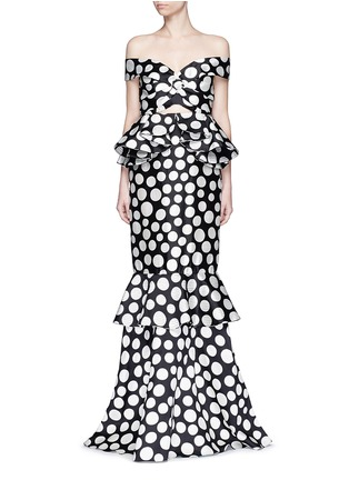 Main View - Click To Enlarge - Johanna Ortiz - 'Miss Golightly' polka dot ruffle gown