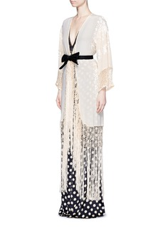 Johanna Ortiz 'Cervantes' floral embroidered shawl coat and body suit set