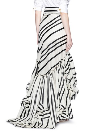 Back View - Click To Enlarge - Johanna Ortiz - 'Duncan' stripe cotton-silk wrap maxi skirt