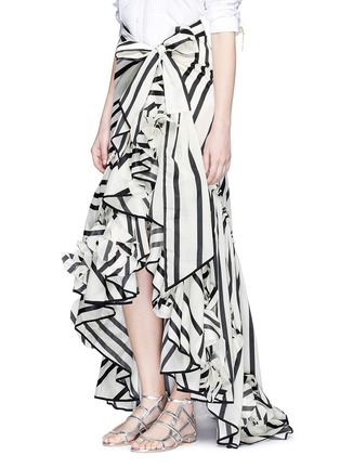 Front View - Click To Enlarge - Johanna Ortiz - 'Duncan' stripe cotton-silk wrap maxi skirt