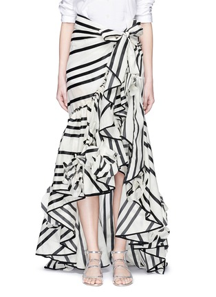 Main View - Click To Enlarge - Johanna Ortiz - 'Duncan' stripe cotton-silk wrap maxi skirt