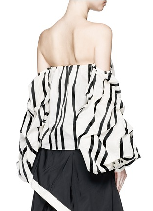 Back View - Click To Enlarge - Johanna Ortiz - 'Frida' stripe off-shoulder organza cropped top