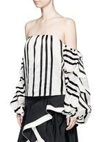 'Frida' stripe off-shoulder organza cropped top