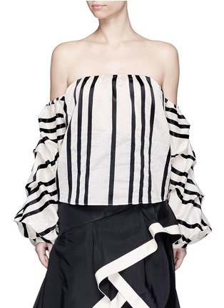Main View - Click To Enlarge - Johanna Ortiz - 'Frida' stripe off-shoulder organza cropped top