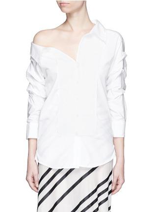 Main View - Click To Enlarge - Johanna Ortiz - 'Voltaire' chain cufflink one-shoulder shirt