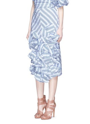Front View - Click To Enlarge - Johanna Ortiz - 'Emma' stripe floral appliqué skirt