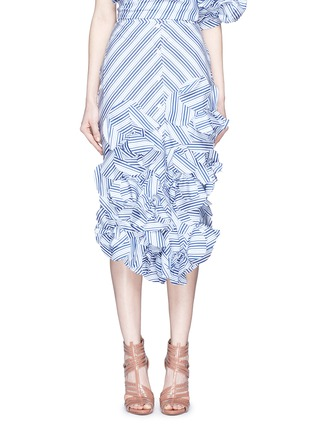 Main View - Click To Enlarge - Johanna Ortiz - 'Emma' stripe floral appliqué skirt