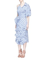 'Emma' stripe floral appliqué skirt