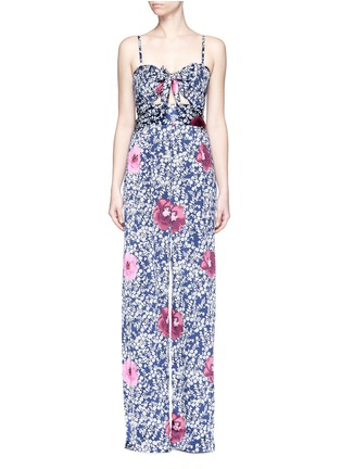 Main View - Click To Enlarge - Johanna Ortiz - 'Fermina' floral print sash tie wide leg jumpsuit