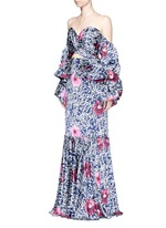 'A Hundred Years of Solitude' floral print off-shoulder gown