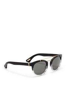LANVINDouble bridge ombré effect acetate round sunglasses