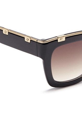 Detail View - Click To Enlarge - Lanvin - Rivet herringbone chain rim acetate square sunglasses