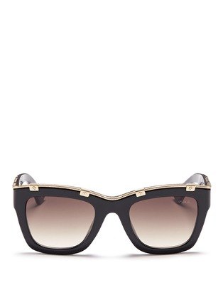 Main View - Click To Enlarge - Lanvin - Rivet herringbone chain rim acetate square sunglasses