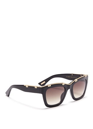 Figure View - Click To Enlarge - Lanvin - Rivet herringbone chain rim acetate square sunglasses
