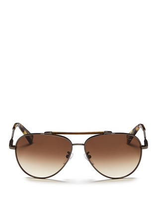 Main View - Click To Enlarge - Lanvin - Wrapped top bar screw edge metal aviator sunglasses