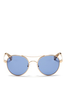 LANVIN Herringbone chain rim round metal sunglasses