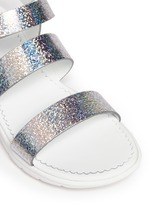 'Micheline' holographic metallic leather strappy sandals