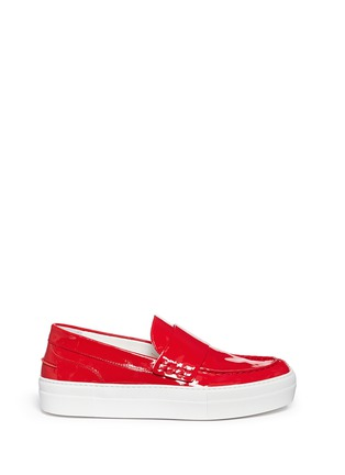 Main View - Click To Enlarge - Moncler - 'New Roseline' patent leather flatform loafers