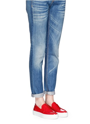 Figure View - Click To Enlarge - Moncler - 'New Roseline' patent leather flatform loafers