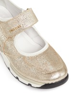 'Claudine' textile strap metallic leather sneakers