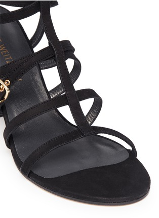 Detail View - Click To Enlarge - Stuart Weitzman - 'Pass The Buck' caged suede buckle sandals