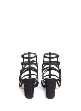 Back View - Click To Enlarge - Stuart Weitzman - 'Pass The Buck' caged suede buckle sandals