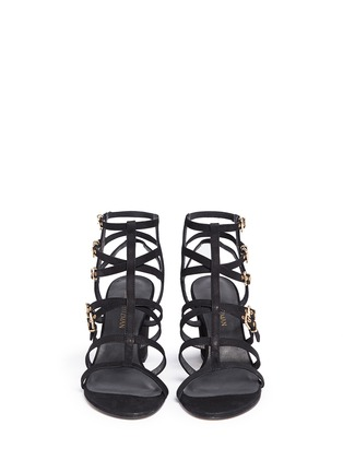 Front View - Click To Enlarge - Stuart Weitzman - 'Pass The Buck' caged suede buckle sandals