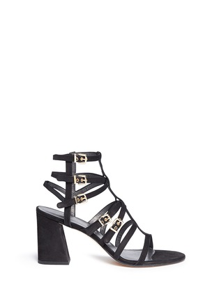 Main View - Click To Enlarge - Stuart Weitzman - 'Pass The Buck' caged suede buckle sandals