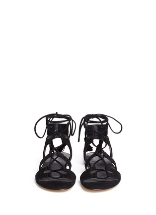 Front View - Click To Enlarge - Stuart Weitzman - 'Roman Flat' suede gladiator sandals