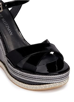 Detail View - Click To Enlarge - Stuart Weitzman - 'Synonym' stripe patent leather wedge sandals