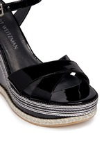 'Synonym' stripe patent leather wedge sandals