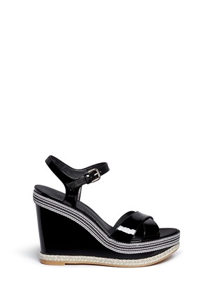 Main View - Click To Enlarge - Stuart Weitzman - 'Synonym' stripe patent leather wedge sandals