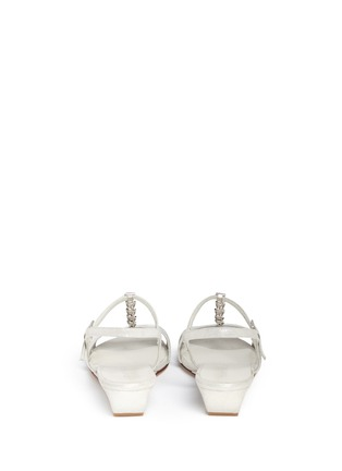 Back View - Click To Enlarge - Stuart Weitzman - 'Flecha' bar chain T-strap wedge sandals