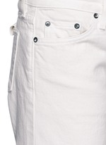 'Tazo' colourblock frayed wide leg cropped jeans