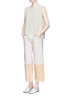 Simon Miller'Tazo' colourblock frayed wide leg cropped jeans